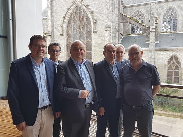 Forum Terre d'entreprises 2018 point presse du 24 mai 2018 : Claude Ravalec (CCIMBO), David Pujet (Quimper évènements), Ludovic Jolivet (QBO), Michel Guéguen (CMA 29), Laurent Bruchon (QBO) et Hervé Herry (QBO)