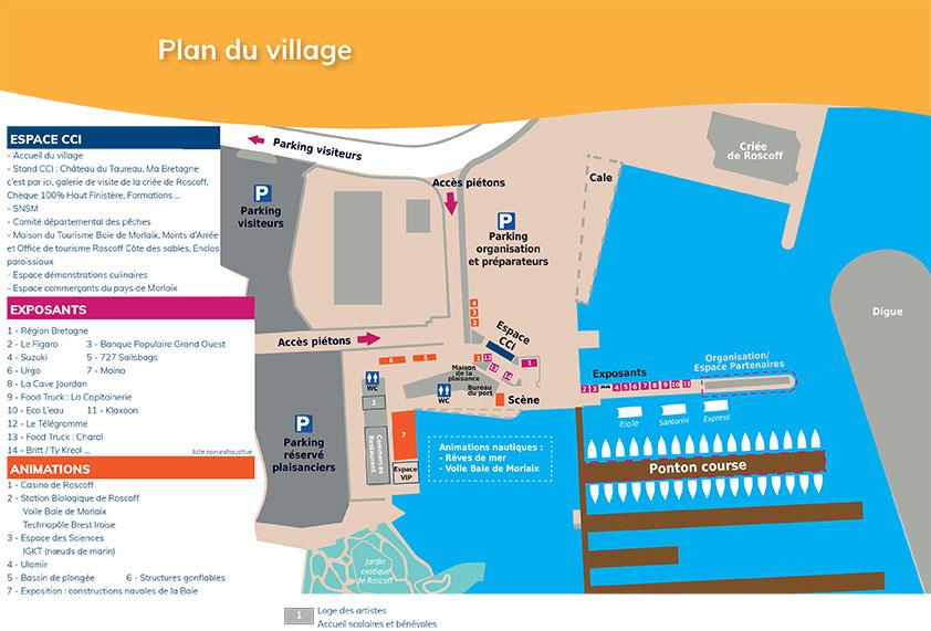 La Solitaire Urgo Le Figaro 2019 : plan du village / Roscoff