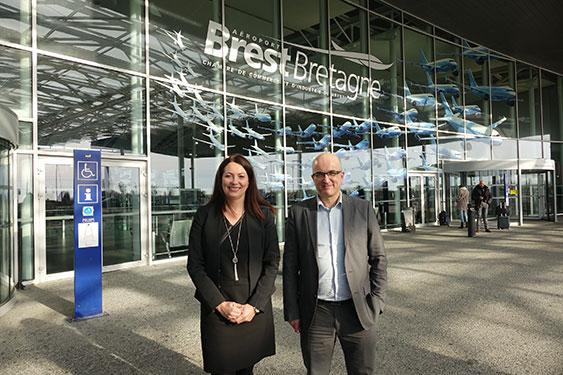 Aéroport Brest Bretagne : Loïc Abjean et Véronique Guével lors du point presse bilan 2017
