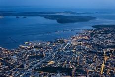 Vue aérienne de Brest à Camaret