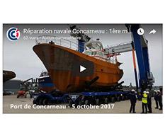 Réparation navale Concarneau : 1ère manoeuvre chariot et élévateur