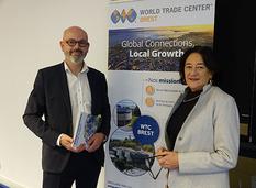 Evelyne Lucas, présidente de la CCIMBO Brest et Sébastien Cann, responsable du WTC Brest, ont lancé officiellement le World Trade Centrer de Brest.